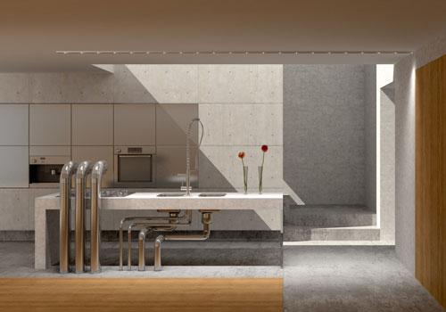 Küchenblock aus Beton